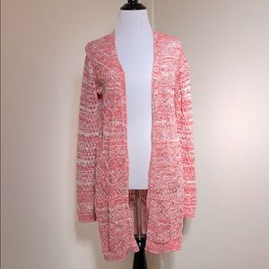 🆕Diamond Long Cardigan Coral and White Knit